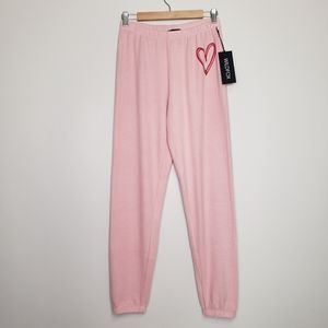 Wildfox pink heart joggers xs nwt